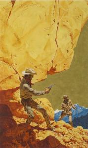 Oil on board gunfight painting by Frank McCarthy (1924-2002), used as an illustration for the book Sangre en la Colina. Estimate: $4,000-$6,000.