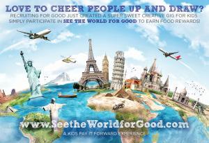 Kids participate in sweet creative drawing gig to earn fun food reward and pay forward experience #sweetkidgig #seetheworldforgood #payitforward www.SeetheWorldforGood.com