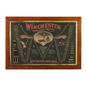 Winchester 1887 cartridge display board, American, a highly sought after American sporting advertising cartridge board (CA$88,500).