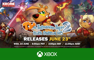 TY the Tasmanian Tiger 2: Bush Rescue HD launches June 23rd on Xbox One