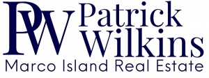Navy Blue Logo on White Background with PW Initials and Patrick Wilkins with Marco Island Real Estate underneath