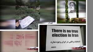 """June 14, 2021 - Activities of the Resistance Units and supporters of the MEK, calling for the boycott of the regime's sham presidential election – """"My vote regime change, yes to a democratically-elected republic"""" – Second week of June 2021."""