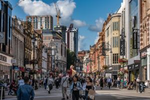One of the main shopping streets in the downtown area on August 13, 2019 in Leeds