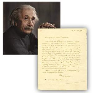 Typed letter written in German and signed by Albert Einstein to President Herbert Hoover in 1929 (est. $50,000-$55,000).
