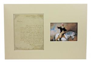 One-page letter penned and signed by George Washington on May 15, 1783, addressed to Miss Sidney Lee (est. $18,000-$20,000).