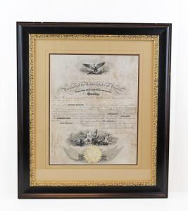 Civil War-dated naval appointment boldly signed by President Abraham Lincoln and promoting William T. Plant to Assistant Surgeon in the U.S. Navy (est. $6,000-$7,000).