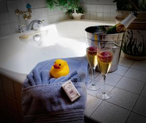 Each suite features a private bath and select suites include oversized tubs