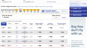 Southwest advertised fare