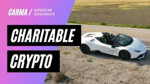 """Carma Coin graphic with super car """"Charitable Crypto"""""""