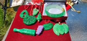 A sampling of the collection of precious hand carved jadeite jewelry contained in the hidden treasure.