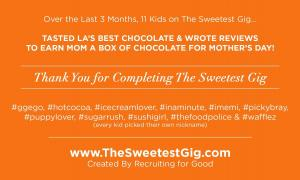 In March 2021, 11 kids worked on The Sweetest Gig, reviewing LA's Best Chocolate and earning a box of chocolate for mom on Mother's Day #thesweetestgig #mothersday www.TheSweetestGig.com