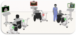 Artist concept of a system of three Burt® robots. Patient in middle is beginning to lean to the left.