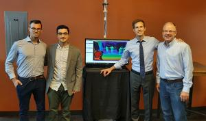 Rep. Jake Auchincloss (3rd from left) pictured with (left-to-right) Spaulding researcher Dr. Federico Parisi, grant lead Dr. Alexandros Lioulemes, and Barrett CEO Bill Townsend