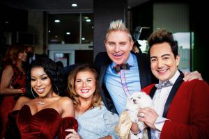 Reality Stars, Pol' Atteu and Patrik Simpson film their acceptance video with Porscha Coleman and Abby Lee Miller.