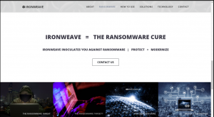 IronWeave's ransomware cure - website