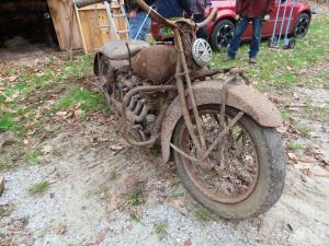 1932 Indian Chief 4-cylinder motorcycle in need of some restoration work, a barn find..