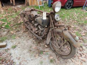1937 Indian Sport Scout with V Twin motor in need of some restoration, a barn find.