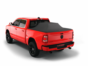 """red 2020 2021 2022 2023 2024 Dodge Ram 1500 5' 7"""" bed with sawtooth stretch expandable pickup truck bed tonneau cover bed cover"""