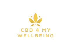 Gold hemp leaf over text that reads CBD 4 my wellbeing