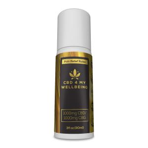 PAIN RELIEF ROLL-ON – 1000mg CBD / 1000mg CBG  black and gold labeling