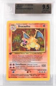 1999 French Pokémon base 1st edition Dracaufeu (Charizard) holographic trading card ($10,000).