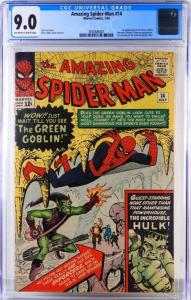 Marvel Comics Amazing Spider-Man #14 (July 1964), graded CGC 9.0, the first appearance of the Green Goblin ($17,500).