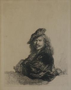 The auction will include two Rembrandt etchings, both signed within the plate, including this self-portrait, titled Self-Portrait Leaning on a Stone Sill (1639)