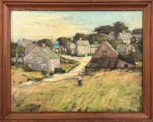 Six original paintings Anne Ramsdell Congdon (1873-1958) will be offered, including this oil on board titled View from Mill Hill. Estimate: $30,000-$50,000.