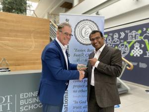 Professor Jiju Antony receives the ILSSI Lifetime Outstanding Contribution award from John Dennis, Chairman of the International Lean Six Sigma Institute, at the Edinburgh Business School, Scotland