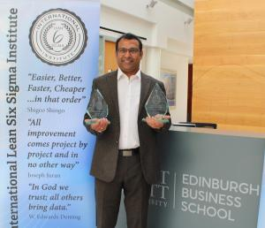 Professor Jiju Antony accepts the ILSSI team prize for Academic Research on behalf of the team of Jiju Antony, Willem Salentijn and Jaqueline Douglas for their 2021 paper titled 'Six Sigma to distinguish patterns in COVID-19 approaches' at Edinburgh Busin