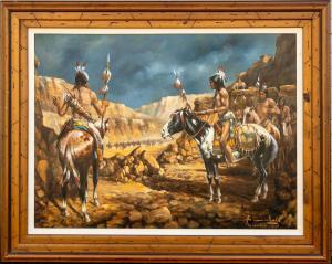 Painting of Native Americans on horseback, titled Too Many Guns (1982), by Americo Makk (1927-2015), framed (estimate: $5,000-$10,000).