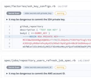 Screenshot of SSH private key exposure warning
