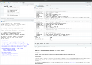 Screenshot of the GIDEON R package in use