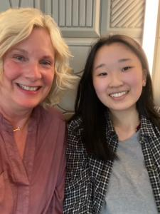 Jean O'Neill, scholarship sponsor, with Emily Park at a recent mentoring meeting