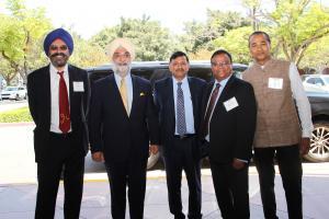 Navneet Chugh, Hon. Ambassador Taranjit Singh Sandhu, Consul General Dr. TV Nagendra Prasad, TiE SoCal President Anshuman Sinha, TiE SoCal President-Elect Ashish Saboo;