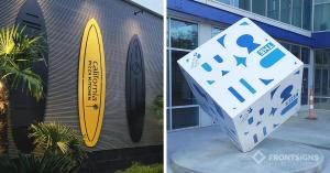 S/S 2021 siganage trends - outdoor architectural signage by Front Signs