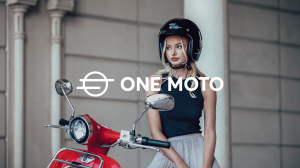 Girl standing alongside electric bicycle, with new ONE MOTO rebranding by design and innovation agency Black