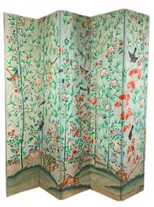 Chinese five-panel wallpaper screen, circa 1800, hand-decorated with a flower and bamboo garden on a pale blue ground ($4,920).