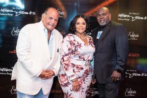 Steven Gurowitz, of Interiors by Steven G, with Tamela and David Mann at Embrace benefit concert.