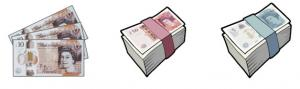 The image is of UK £10 fanned out, a block of UK £50 notes and £5 notes - cartoon style