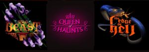 Beast Haunted House, Edge of Hell Haunted House, and Queen of Haunts industry authority logos