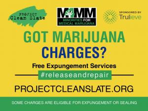 Yellow sign for marijuana charges and expungement.