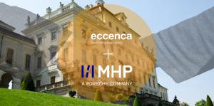 shaking hands to symbolize the partnership between MHP Consulting and eccenca