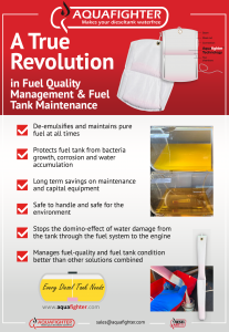 Aquafighter benefits such as prevention of diesel bug & diesel bacteria, stopping fuel tank corrosion, purifying diesel fuel and how fuel additives are destructive to engines & metal parts. Also explains how Aquafighter protects engines, fuel systems and metal parts.