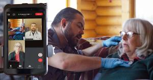 A paramedic uses Pulsara's telehealth platform to start a video call with a patient and other clinicians