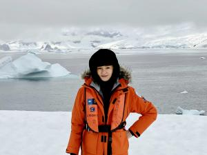 Portrait of Paola Marzotto on site- Antarctica January 2020