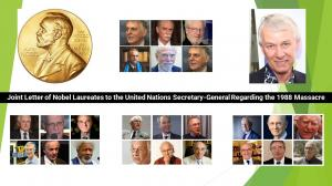 """September 13, 2021 - The Nobel laureates wrote to the Secretary-General of the United Nations, """"In the absence of international accountability, genocide and crimes against humanity persist in Iran."""