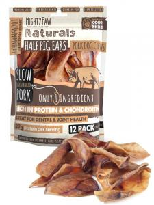 A 12 pack bag of Mighty Paw Naturals Half Pig Ears