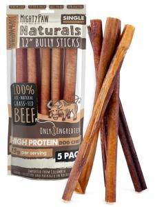 A 5 piece bag of Mighty Paw Naturals Bully Sticks