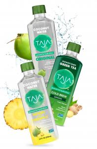 Image of TAJA Original and Pineapple-Infused Coconut Waters and Cold Brew Green Tea with Ginger with Water Splash in Background